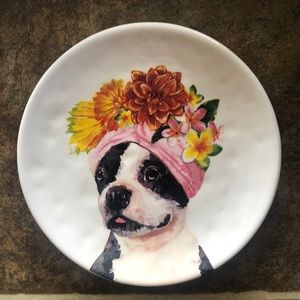 Pier 1 Boston Terrier Dog plate NWT